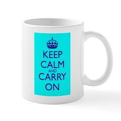 Keep Calm and Carry On Blue Blue Mug Front+Back