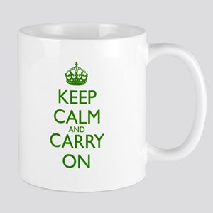 Keep Calm and Carry On Green Mug Front+Back