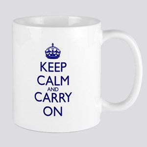 Keep Calm and Carry On Blue Mug Front+Back