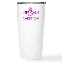 Keep Calm and Carry On Shocking Pink Travel Mug