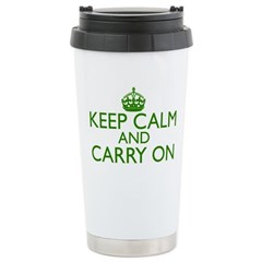 Keep Calm and Carry On Racing Green Travel Mug