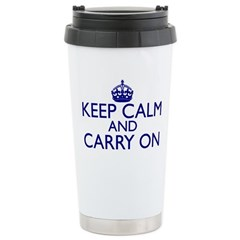 Keep Calm and Carry On Royal Blue Travel Mug