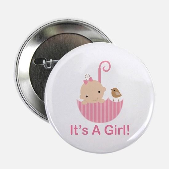 """Umbrella Baby It's A Girl 2.25"""" Button"""
