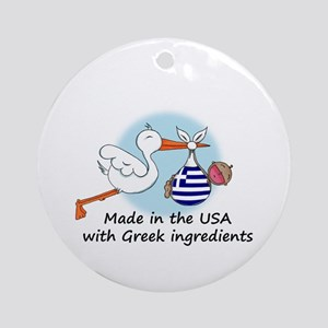 Stork Baby Greece USA Ornament (Round)