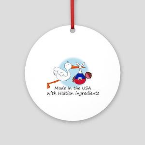 Stork Baby Haiti USA Ornament (Round)