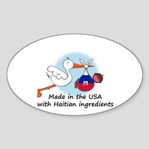 Stork Baby Haiti USA Sticker (Oval)
