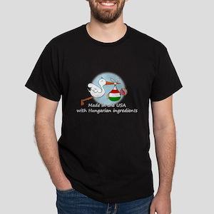 Stork Baby Hungary USA Dark T-Shirt