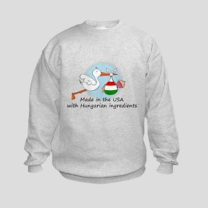 Stork Baby Hungary USA Kids Sweatshirt