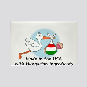 Stork Baby Hungary USA Rectangle Magnet