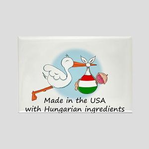 Stork Baby Hungary USA Rectangle Magnet