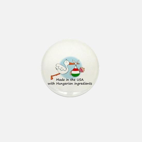 Stork Baby Hungary USA Mini Button