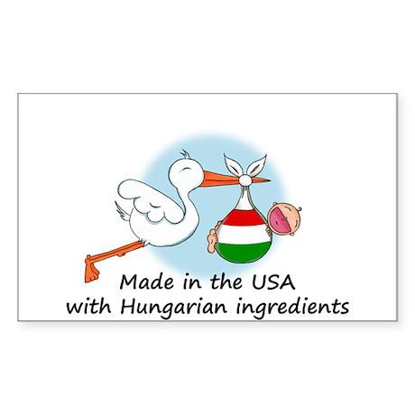 Stork Baby Hungary USA Sticker (Rectangle)