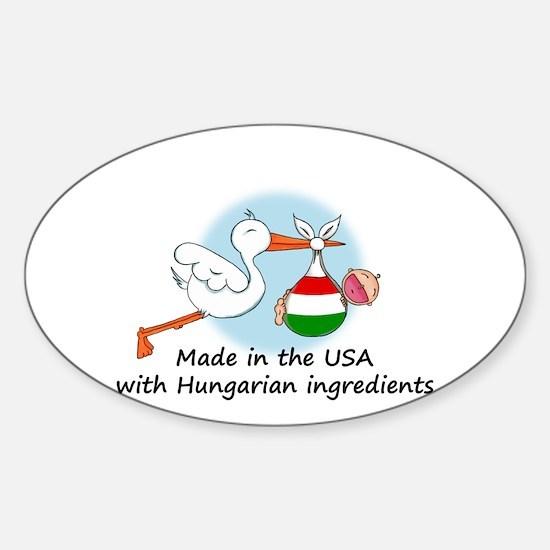 Stork Baby Hungary USA Sticker (Oval)