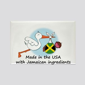 Stork Baby Jamaica USA Rectangle Magnet
