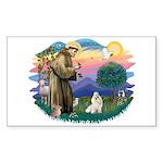 St Francis #2 / Havanese (w) Sticker (Rectangle)