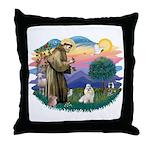 St Francis #2 / Havanese (w) Throw Pillow