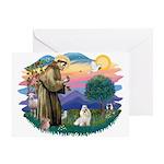 St Francis #2 / Havanese (w) Greeting Card