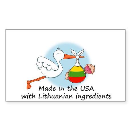 Stork Baby Lithuania USA Sticker (Rectangle)