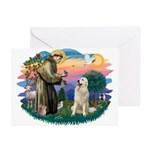 St. Fran #2/ Great Pyrenees #1 Greeting Cards (Pk