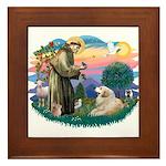 St. Fran #2/ Great Pyrenees (#2) Framed Tile