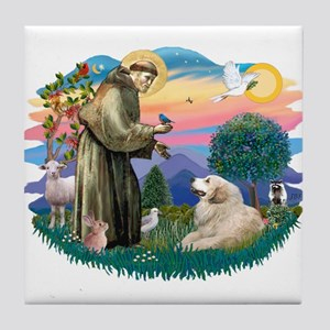 St. Fran #2/ Great Pyrenees (#2) Tile Coaster