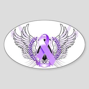 Awareness Tribal Purple Sticker (Oval)