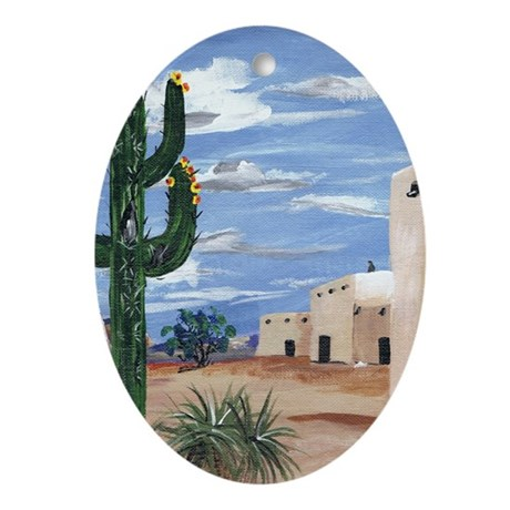Adobe with Cactus Ornament (Oval)