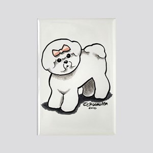 Girly Bichon Frise Rectangle Magnet