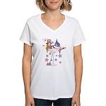 4th of July Martini Girl Women's V-Neck T-Shirt