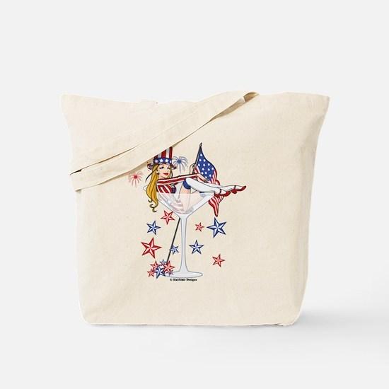 4th of July Martini Girl Tote Bag
