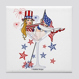 4th of July Martini Girl Tile Coaster