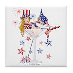 4th of July Martini Girl Tile Coaster