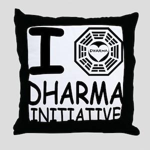 I Love Dharma Initiative Throw Pillow