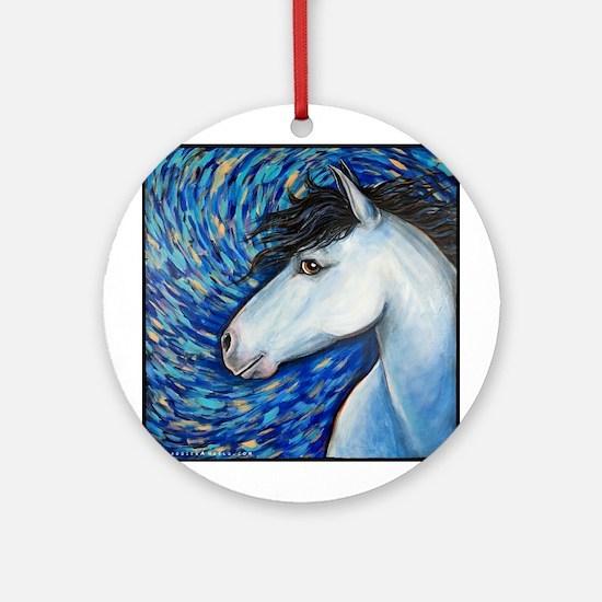"White Horse ""Bianca"" Ornament (Round)"