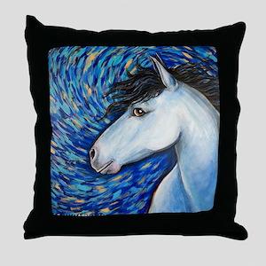 """White Horse """"Bianca"""" Throw Pillow"""