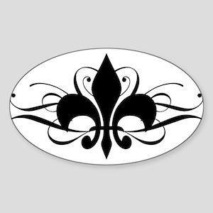 Fleur De Lis with Swirls Sticker (Oval)
