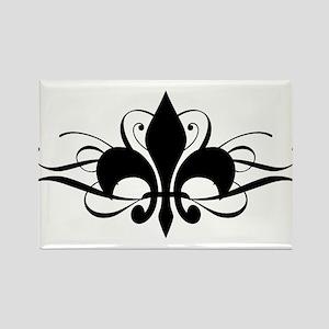 Fleur De Lis with Swirls Rectangle Magnet