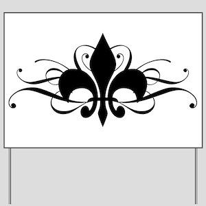 Fleur De Lis with Swirls Yard Sign