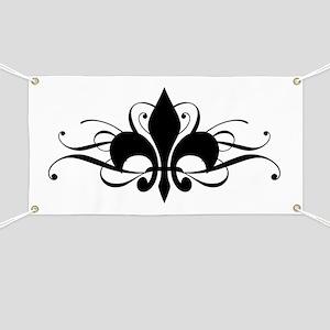 Fleur De Lis with Swirls Banner