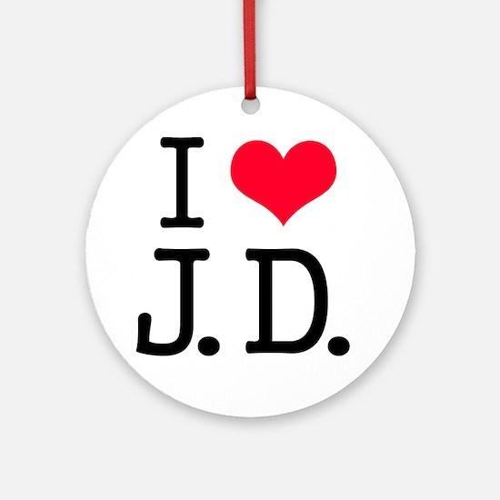 'I Love J.D.' Ornament (Round)
