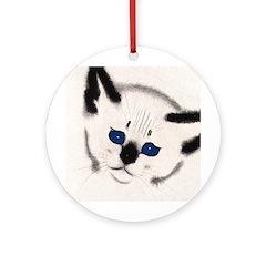 Siamese Cat Art Round Ornament