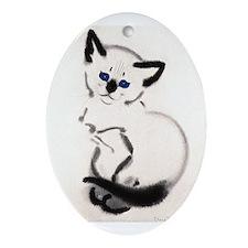Siamese Cat Art Oval Ornament