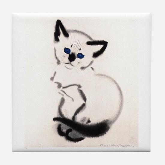 Siamese Cat Art Tile Coaster
