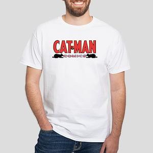 $19.99 Classic Cat-Man Logo White T-Shirt