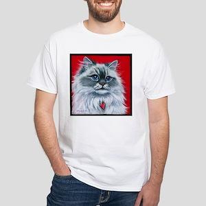 """Ragdoll Cat """"Mia"""" White T-Shirt"""