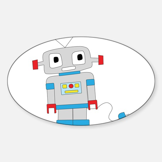 Cute Robot Sticker (Oval)
