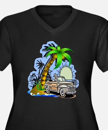 Tropical Scene Women's Plus Size V-Neck Dark T-Shi