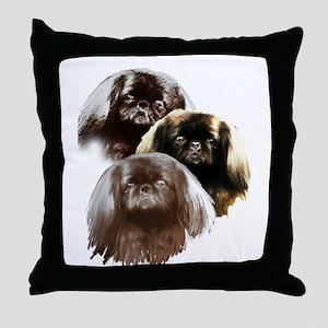 pekingese group Throw Pillow