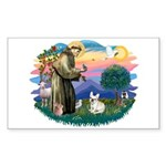 St Francis #2/ Fr Bulldog (f) Sticker (Rectangle)