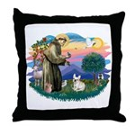 St Francis #2/ Fr Bulldog (f) Throw Pillow
